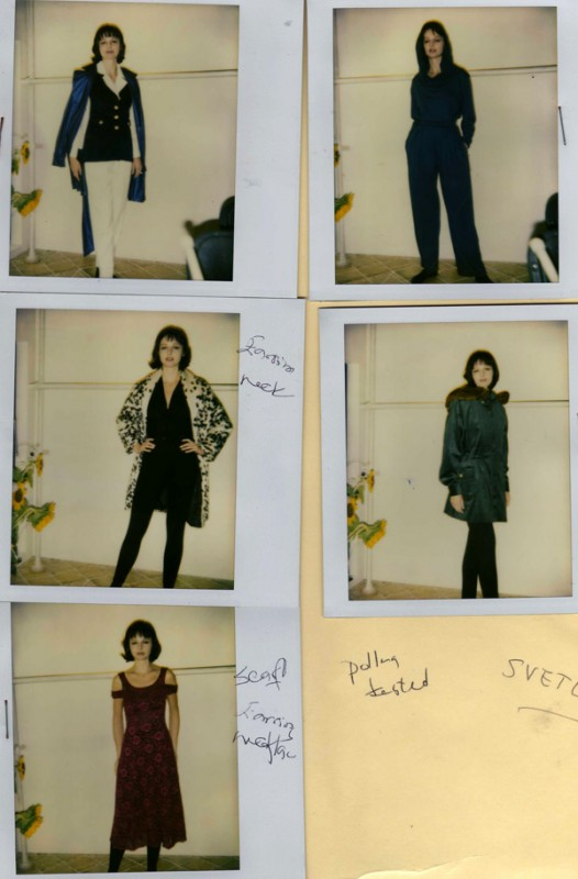 Preparing for my first fashion show. Polaroids taken of Svetlana before the show--September 1992