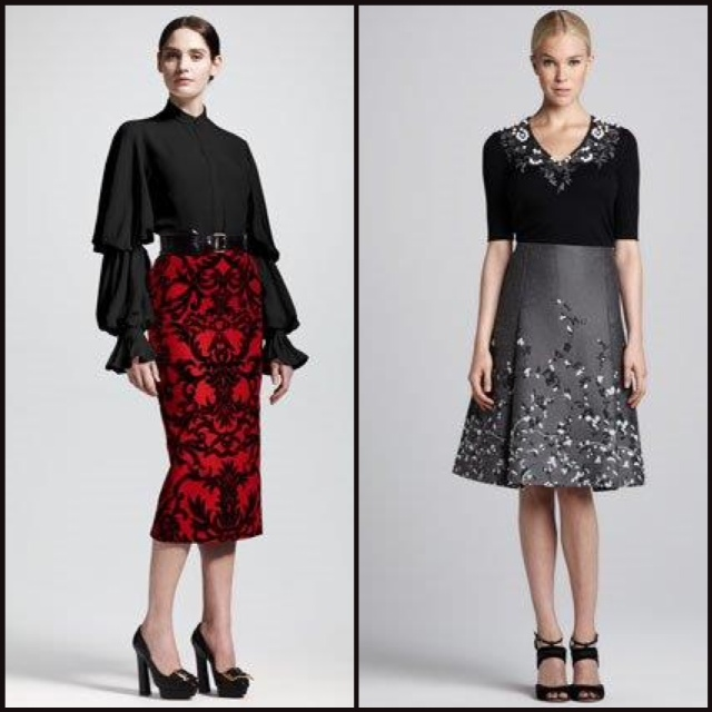 Both skirts, by Alexander McQueen and Carolina Herrera, are slightly reminiscent of the 50s