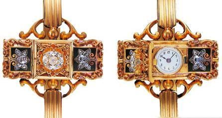 Be-jewled wristwatch designed by Patek Philippe in 1868.