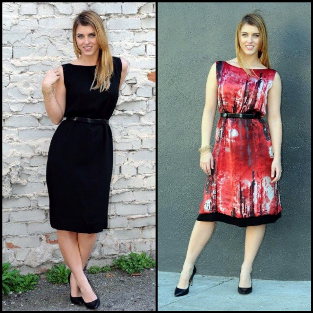This dress is reversible; one side is black, the other side is print.