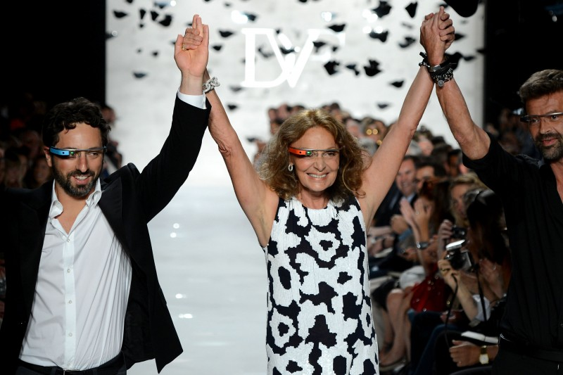 Diane von Furstenburg and Sergy Brin taking a walk down the runway.
