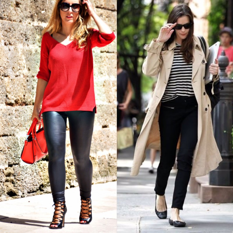 The pleather leggings on the right along with the lace-up heels are yesterday's fashion news. The cigarette pants and flats are timeless.